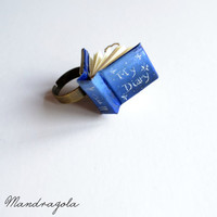 """Tiny Book Blue Ring """"My Diary"""". Adjustable ring"""