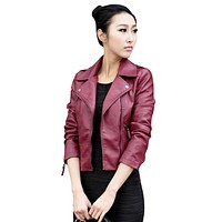 2017 Women PU Leather Jacket Slim Motorcycle Zipper Punk PU Leather Outwear Jacket S-XXXL T55