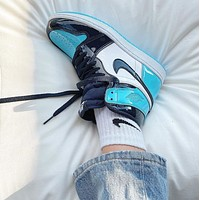 NIKE Air Jordan 1 AJ new hot sale stitching couple high-top sneakers Shoes blue