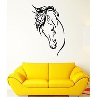 Wall Decal Horse Mane Mare Animal Shooves Stallion Head Vinyl Stickers Unique Gift (ed231)