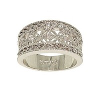 Delicate Silvertone Filigree Fashion Ring with Many Tiny Cubic Zirconia Stones
