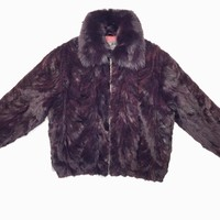 Winter Fur Women's Wine Mink Fur Bomber Coat