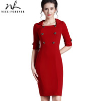 Nice-forever Office Lady formal business Pinup Elegant Lapel Square Neck Buttons Tunic Bodycon Gorgeous Midi Vintage Dress 753