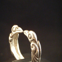 Viking Style Odins Raven Torc Ring in Sterling Silver