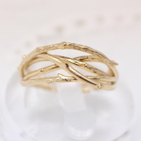 Branch Twig Adjustable Ring in Gold