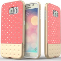 Galaxy S6 Case, Caseology® [Riot Series] Premium Leather Bumper Cover [Pink] [Leather Grip] for Samsung Galaxy S6 - Pink