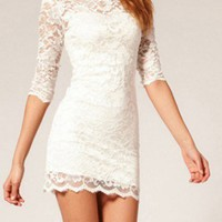 Creamy sexy lace dress