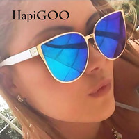 HapiGOO 2016 New Oversize Cat Eye Sunglasses Women Fashion Summer Style Big Size Frame Mirror Sunglasses Female Oculos UV400