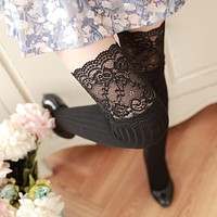 5Pairs Women's Socks Fashion Sexy Lace Long Stockings Warm Knit Crochet Over Knee Socks Autumn Winter Thigh High Stockings