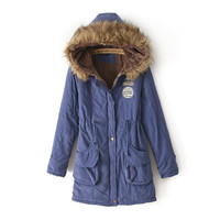 Light Blue Pocket Elastic Waist Parka Coat
