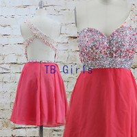 Sexy Hot One Shoulder Beads Sequins Short Prom Dress Red Chiffon Prom Dress Bridesmaid Prom Dress Graduation Homecoming Party Dress