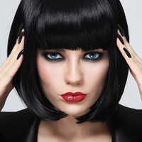 Resistant Synthetic Bob Style Bang Short Black Straight Capless Wig