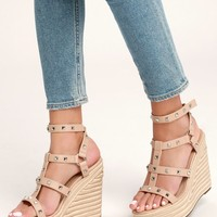 Give Light Natural Studded Espadrille Wedges