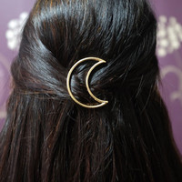 All stock must go CLEARANCE! Minimalist GOLD or SILVER Plated Vintage Punk Moon Hair Clip Hairpin