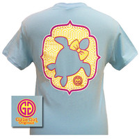 Girlie Girl Originals Preppy Turtle Sea Bow Sky Blue Bright T Shirt