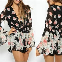 Long Sleeve Black Floral Romper