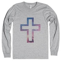 Galaxy Cross-Unisex Heather Grey T-Shirt