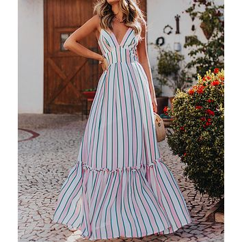 New fashion European and American striped print sexy sling dress