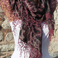 ON SALE - Multicolor Scarf -  Cowl with Lace Edge by Fatwoman