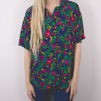 Vintage Floral Abstract Colorful Blouse