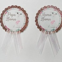 Llama Baby Shower Pin, Pink Rose Gold pin for mon or dad to be or Grandma to be to wear at Baby Sprinkle, with a Pin