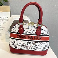 Dior woven embroidery letters ladies shopping shell bag handbag shoulder bag Red&White