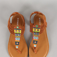 Embroidered Strappy Sandals *TAN*