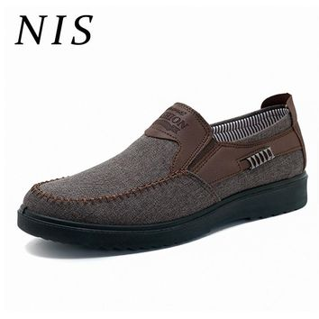 NIS Flat Shoes Men Slip On Casual Loafers Breathable Canves Old Beijing Style Summer Spring Large Size Flats Men Shoes Sneakers