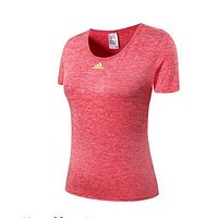 Trendsetter Adidas Woman Fashion Print Gym Sport Cotton Short Sleeve Tunic Shirt Top Blouse