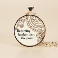 """DIVERGENT """"Becoming Fearless"""" Book Quote Charm Necklace"""