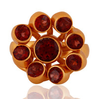 Handmade 24k Yellow Gold-Plated 925 Sterling Silver Natural Garnet Gemstone Ring