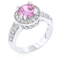Soft Pink CZ Halo Ring