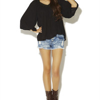 Double V-Neck Peasant Top | Wet Seal