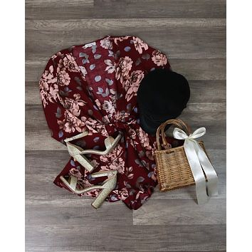 Girl Crush Long Sleeve Floral Romper With Ruffle Hem in Burgundy