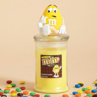 4 Lemon Scented Candles - Glass Jar Candles Each Feature A Lid With An Expressive Yellow Peanut M&m Icon