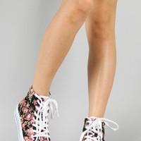 Qupid Maniac-05 Floral Lace Up Flatform Sneaker