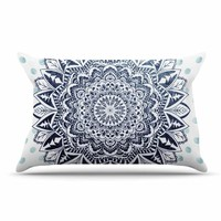 "Nika Martinez ""Dots Mandala"" Blue White Illustration Pillow Case"