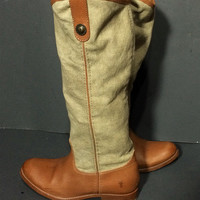 Frye 76170 Brown Canvas & Leather Melissa Button Boots Women's Size 6