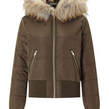 Khaki Puffer Bomber Jacket - View All - New In