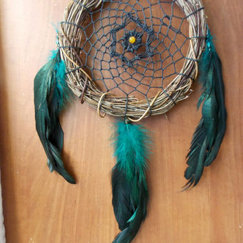 Rustic Medium Dream Catcher with Orange Quartzite and Teal Rooster Feathers // Boho Hippie Home Decor