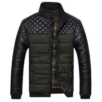 Men's Jackets and Coats PU Patchwork Jackets Men Outerwear Winter Male Clothing