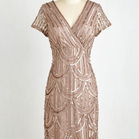 20s Short Sleeves Sheath Cascading Cava Dress in Taupe