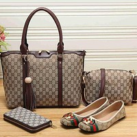Perfect  Gucci Women Leather Tote Satchel Crossbody Handbag Shoes Wallet Set Four Piece