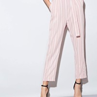 Paperbag Waist D-ring Belted Striped Pants