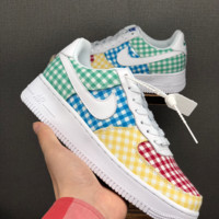 HCXX 19June 1236 Nike Air Force 1 LOW QS WMNS Lattice Series Fshion Comfortable Skate Shoes