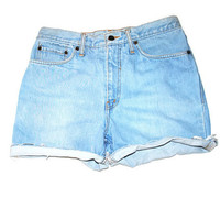 super light wash LEVIS jean shorts 90s vintage pale distressed cut off boyfriend shorts XL