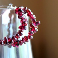 POMEGRANATE--Polished Ruby Red Garnet and Sterling Silver Hoop Earrings