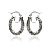.925 Sterling Silver Rhodium Plated Hoop Earring