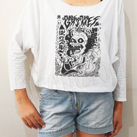 Grimes Shirt Punk Shirt Indie Rock Shirt Bat Sleeve Shirt Crop Top Shirt Long Sleeve Shirt Oversized Sweatshirt Women Shirt - FREE SIZE