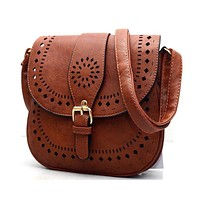 Hollow Out Leather Women Saddle Bag Vintage Shoulder Bags Retro Small Crossbody Bags